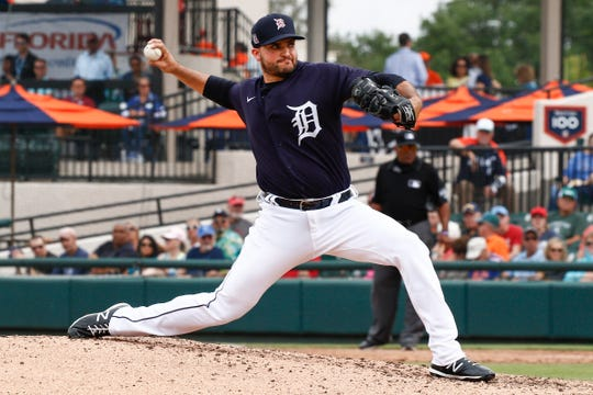 Tigers pitcher Bryan Garcia throws a pitch against the Mets during the fourth inning of the Tigers' 9-6 exhibition win at Publix Field at Joker Marchant Stadium on Tuesday, Feb. 25, 2020.