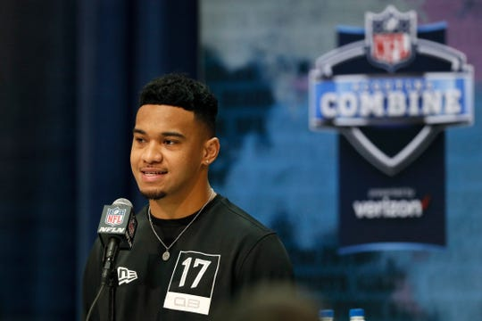 Alabama quarterback Tua Tagovailoa speaks during a press conference at the NFL scouting combine on Tuesday.