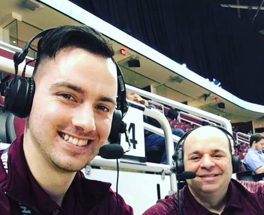 Adam Jaksa, left, with his mentor and long-time CMU broadcaster Don Chiodo.