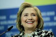 Hillary Clinton attends a news conference for the film 'Hillary' during the 70th International Film Festival Berlin.