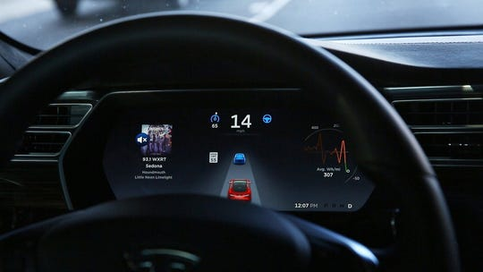 The dashboard of the software-updated Tesla Model S P90D shows the icons enabling Tesla's autopilot. Short of a court order, a car maker is not bound to release information on semi-autonomous driving systems to a car owner, a lawyer, to safety researchers or the police.