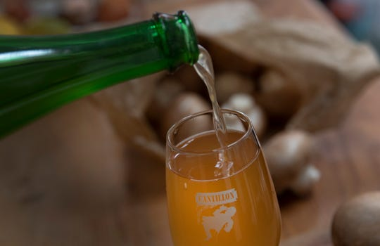 A Cantillon Lambic Gueuze is poured into a glass in Antwerp, Belgium.