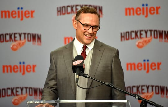 Detroit Red Wings executive vice president and general manager Steve Yzerman shares a laugh as he addresses the media about the trade deadline Monday at Little Caesars Arena.