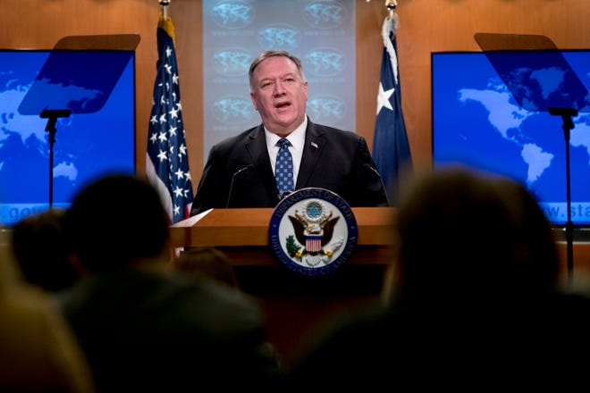 Secretary of State Mike Pompeo speaks at a news conference at the State Department, Tuesday, Feb. 25, 2020, in Washington.