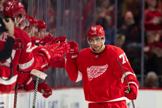 Forward Andreas Athanasiou played five seasons with the Red Wings.
