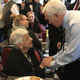 Vice President Mike Pence greets 89-year-old Beatrice Skory of Lansing inside Lansing's Fleetwood Diner on Tuesday, Feb. 25, 2020. Pence stopped there on his way to deliver remarks to the Michigan Farm Bureau.