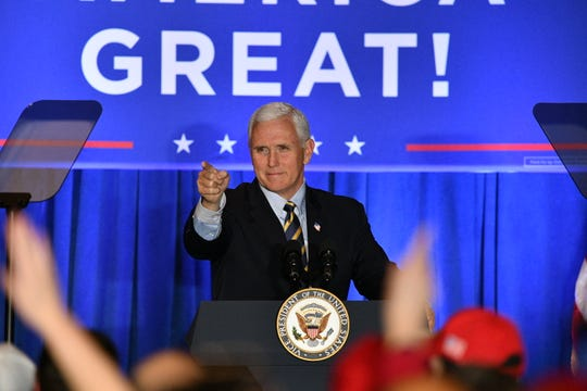 Vice President Mike Pence greets a campaign rally Tuesday, Feb. 25, 2020, at the Detroit Marriott Troy hotel. He also met with Metro Detroit Chaldean chamber officials about the deporting immigrants.