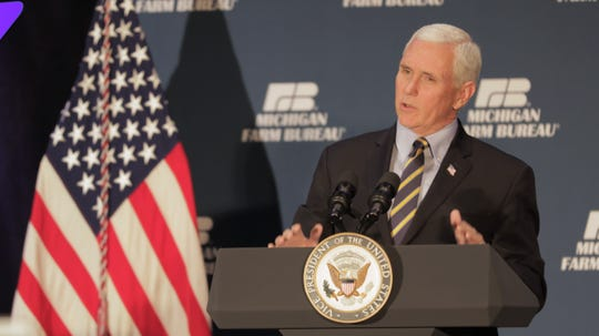 Vice President Mike Pence addressed a Michigan Farm Bureau seminar at the Lansing Center on Tuesday, Feb. 25, 2020.