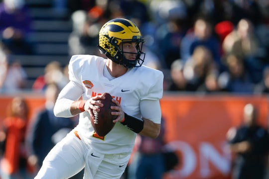 Michigan quarterback Shea Patterson played for the North squad in last month's Senior Bowl in Mobile, Alabama.