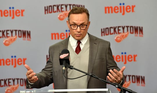 Detroit Red Wings executive vice president and general manager Steve Yzerman addresses the media Monday about the trade deadline at Little Caesars Arena.