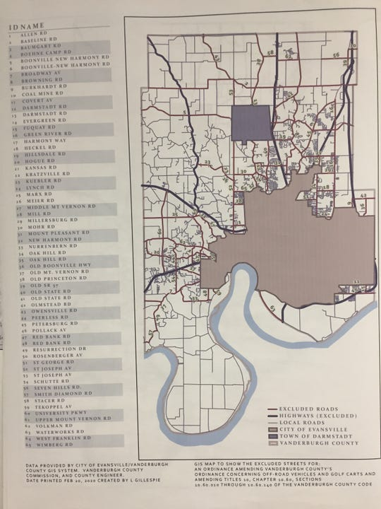 An ordinance pending before the Vanderburgh County Commissioners would permit off-road vehicles and golf carts in rural areas. They would remain prohibited within Evansville and Darmstadt, on state roads, and on county roads listed with this map.