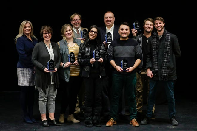 Downtown Fond du Lac Partnership 2019 award winners, from left: Executive Director Amy Hansen; National Exchange Bank and Trust, Nicole Wiese; Boys and Girls Club, Aubriana Donahue;  Fond du Lac Public Library, Jon Mark Bolthouse; Guru of Luxury & Legendary Hotels, Yvonne Roberts; 18 Hands Ale Haus, Sam Meyer; Hair Lounge, Vicente Lezama Morales; and HempWorks, Ben Mueller and Matt Wirtz.