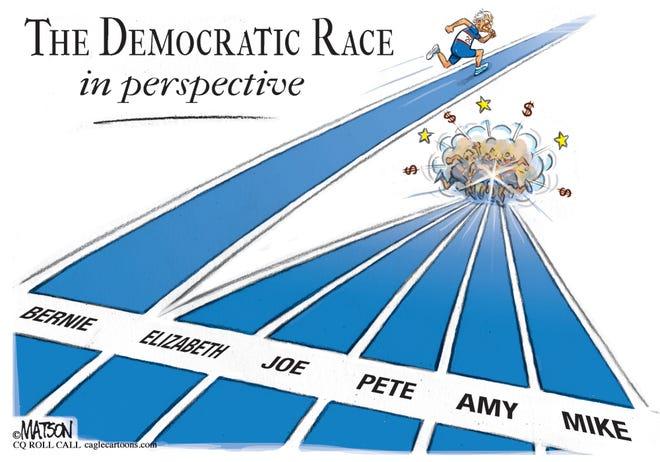 Sanders ahead of Democrats' pileup.