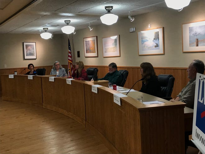 Door County Board of Supervisors candidates answered voters' questions at a League of Women Voters forum on Monday. Candidates from left: Erin Tauscher, Helen Bacon, Laura Vlies Wotachek, Dan Williams, Elizabeth Gauger and Randy Halstead.