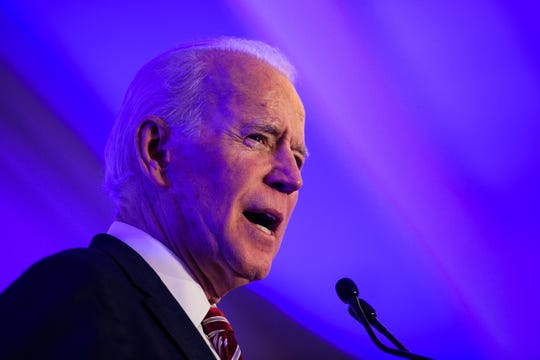 Democratic presidential candidate Joe Biden speaks during the First in the South Dinner in Charleston Monday, Feb. 24, 2020.