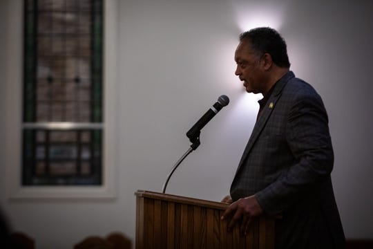 Rev. Jesse Jackson speaks at Cedar Grove Baptist Church in Simpsonville Monday, February 24, 2020, discussing the current climate prior to the Democratic presidential debate in Charleston.