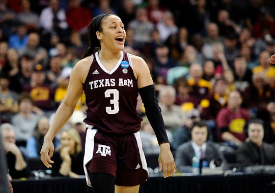 Mar 24, 2018; Spokane, WA, USA; Texas A&M Aggies guard Chennedy Carter (3) celebrates a Notre Dame Fighting Irish turnover in the semifinals of the Spokane regional of the women's basketball 2018 NCAA Tournament at Spokane Veterans Memorial Arena. Mandatory Credit: James Snook-USA TODAY Sports