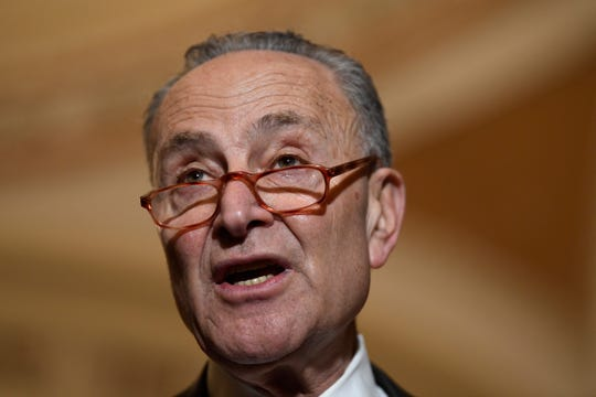 Senate Minority Leader Sen. Chuck Schumer of N.Y., speaks during a news conference Tuesday on Capitol Hill.