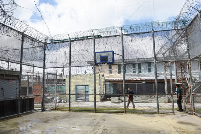 A basketball court at the Department of Corrections Hagåtña Detention Facility in Hagåtña, Feb. 25, 2020.