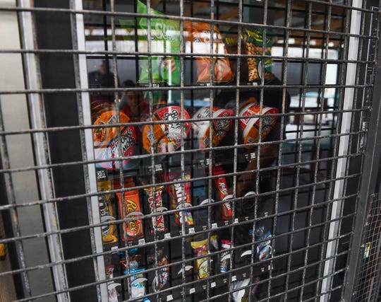 A vending machine for visitors is secured at the Department of Corrections Hagåtña Detention Facility in Hagåtña, Feb. 25, 2020.