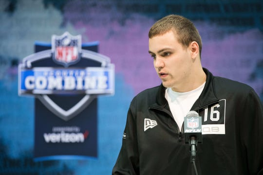 Iowa quarterback Nate Stanley speaks to the media during the 2020 NFL Combine in the Indianapolis.