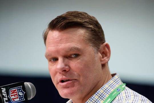 Feb 25, 2020; Indianapolis, Indiana, USA; Indianapolis Colts general manager Chris Ballard speaks to the media during the NFL Combine at the Indiana Convention Center.
