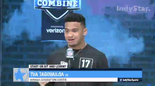 NFL prospect Tua Tagovailoa discusses starting versus sitting during  first year.