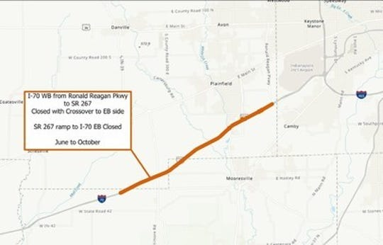 Construction will start in June on I-70 westbound from Ronald Reagan Parkway.