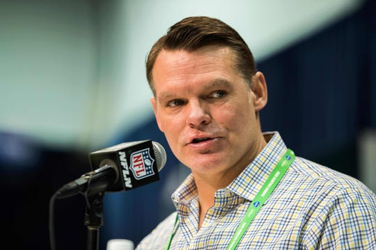 Feb 25, 2020; Indianapolis, Indiana, USA; Indianapolis Colts general manager Chris Ballard speaks to the media during the 2020 NFL Combine in the Indianapolis Convention Center.