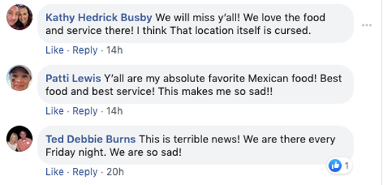 Sombra Flowood Facebook comments