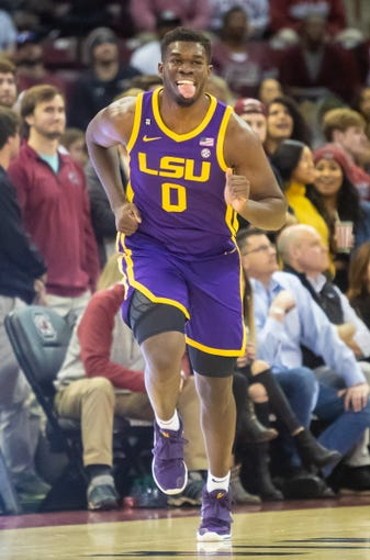 Feb 22, 2020; Columbia, South Carolina, USA; LSU Tigers forward Darius Days (0) celebrates after a three point basket against the South Carolina Gamecocks in the first half at Colonial Life Arena. Mandatory Credit: Jeff Blake-USA TODAY Sports