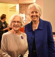 "Former Lt. Gov. Crit Luallen with Dolores Delahanty, who was presented with the inaugural ""Gutsy Woman Award."""