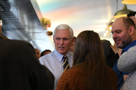 Vice President Mike Pence shakes hands at The Fleetwood Diner in Lansing on Feb. 25, 2020.
