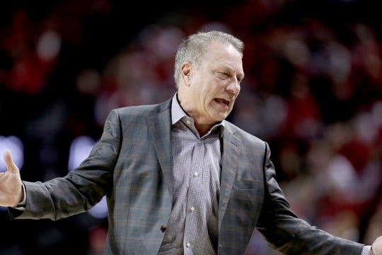 Michigan State coach Tom Izzo reacts during the second half of an NCAA college basketball game against Nebraska in Lincoln, Neb., Thursday, Feb. 20, 2020. (AP Photo/Nati Harnik)