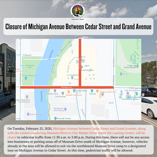 Several streets in Lansing will be closed as Vice President Mike Pence speaks at the Lansing Center Tuesday, Feb. 25, 2020.