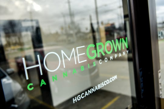 The front entrance at Homegrown Cannabis Company photographed on Tuesday, Feb. 25, 2020, in Lansing. The business was one of two awarded a stateÊretail license by the city.