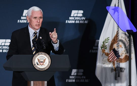 Vice President Mike Pence speaks Tuesday, Feb. 25, 2020, during the Michigan Farm Bureau Lansing Legislative Seminar at the Lansing Center in downtown Lansing, Mich.  [AP Photo/Matthew Dae Smith via Lansing State Journal]