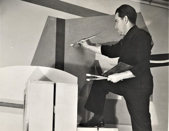 Stuart Davis working on a federal art project mural in 1939.