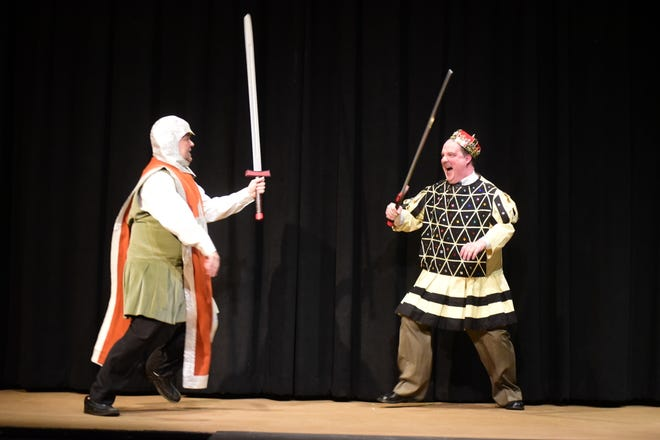 """Ryan Kiley, left, and Steve Russell duel it out during an early scene in the Mansfield Playhouse's upcoming show, """"Leading Ladies."""""""