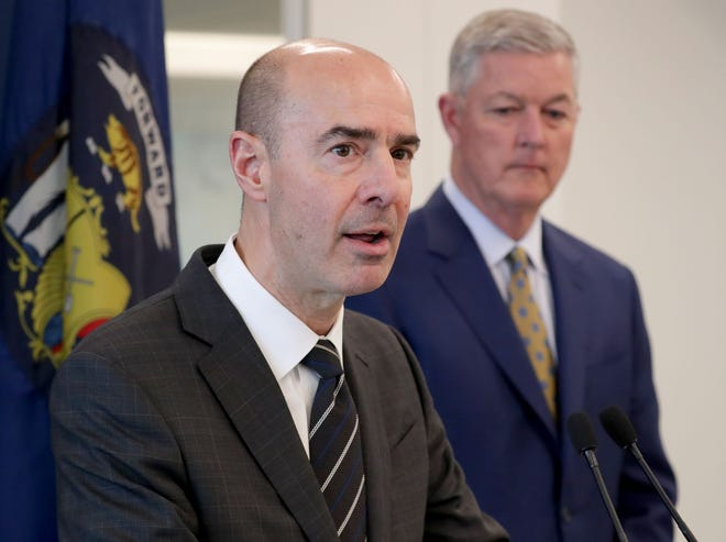 U.S. Labor Secretary Eugene Scalia speaks as Tim Sheehy, president of the Metropolitan Milwaukee Association of Commerce looks on, at Rockwell Automation in Milwaukee on Tuesday. Scalia toured the facility and discussed manufacturing.