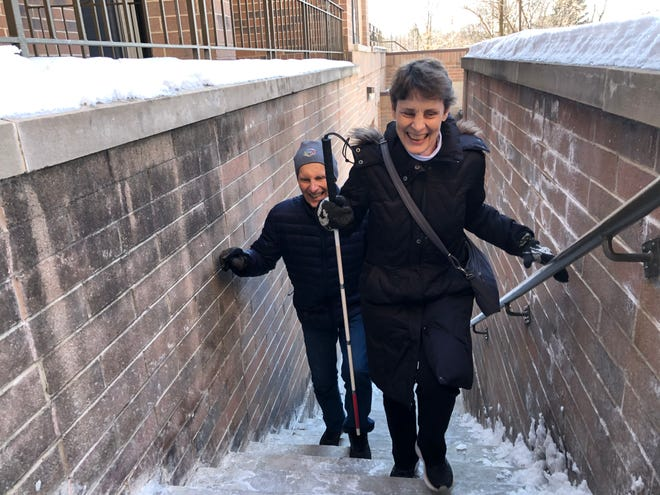 Mary Callen of Wauwatosa will be joined by her friend John Rodee during the Fight For Air Climb on Saturday, March 7. Callen will be the first blind woman to ever take part in the event, which takes place at the U.S. Bank Center in downtown Milwaukee.