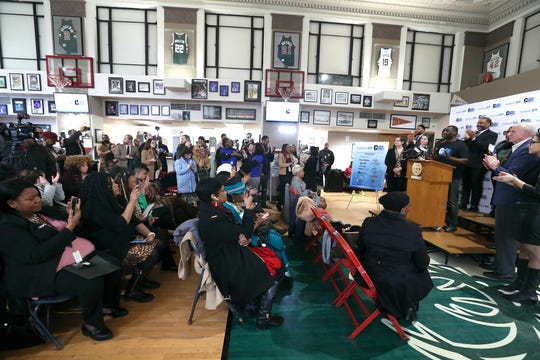 """Gaulien """"Gee"""" Smith, owner of Gee's Clippers, lists the names of family members who died before the age of 65, saying they're the reason opening a clinic in his barber shop means so much to him. Other officials applauded the launch of a free clinic to support men's health in Milwaukee, dubbed the MKE Wellness Clinic at Gee's Clippers on Tuesday."""