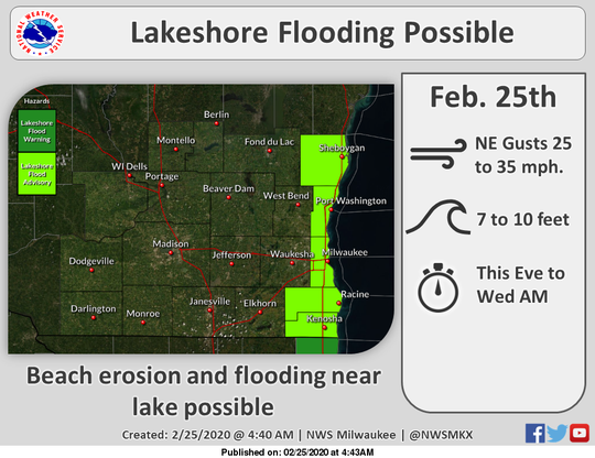A lakeshore flood advisory is in effect from Sheboygan County southward on Tuesday into Wednesday.
