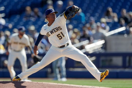 Freddy Peralta worked two scoreless innings for the Brewers during the spring game against the Mariners on Tuesday, allowing one hit while striking out two.