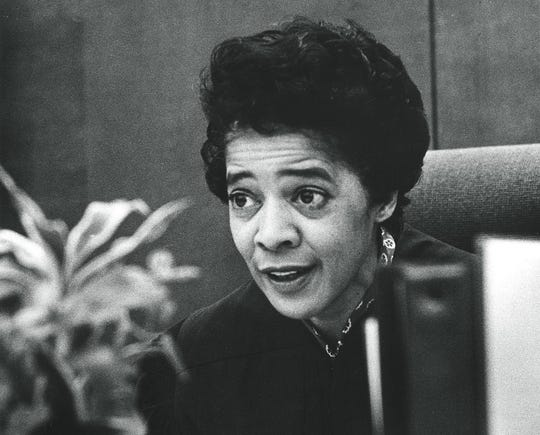 Judge Vel Phillips sits in Milwaukee juvenile court in 1971. She was  the first woman judge in Milwaukee County and the first African-American to serve in Wisconsin's judiciary.