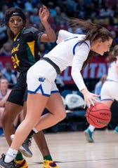 Cold Springs's Elizabeth Hill (3) gets by Central-Hayneville's Cordasia Harris (24) during the AHSAA Finals at Legacy Arena in Birmingham, Ala., on Monday February 24, 2020.