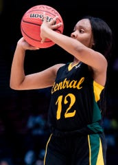 Central-Hayneville's Kadaijah Williams (12) photos a three point shot against Cold Springs during the AHSAA Finals at Legacy Arena in Birmingham, Ala., on Monday February 24, 2020.