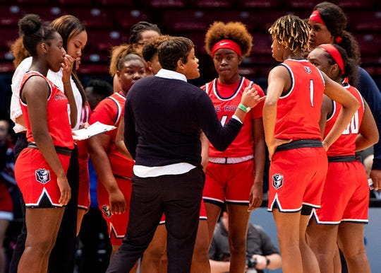 Pike Road coach Courtney Ward coaches against Pisgah during the AHSAA Finals at Legacy Arena in Birmingham, Ala., on Tuesday February 25, 2020.