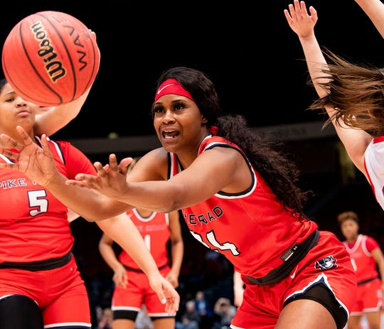 Pike Road's Tamirea Thomas grabs a rebound against Pisgah during the AHSAA Finals at Legacy Arena in Birmingham, Ala., on Tuesday February 25, 2020.