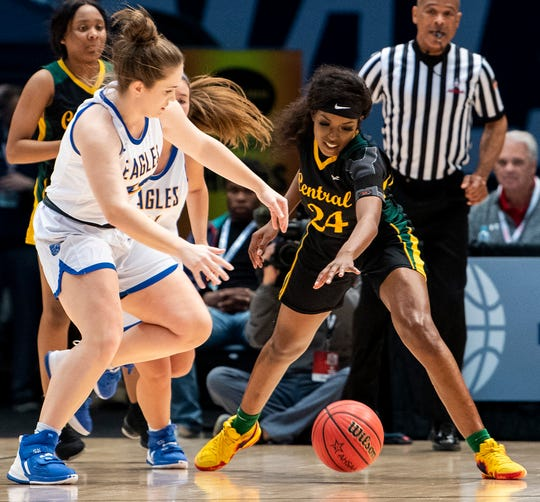 Central-Hayneville's Cordasia Harris (24) defends against Cold Springs's Kylon Hamby (22) during the AHSAA Finals at Legacy Arena in Birmingham, Ala., on Monday February 24, 2020.